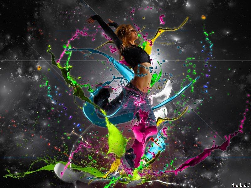 Explosion de peinture multicolore