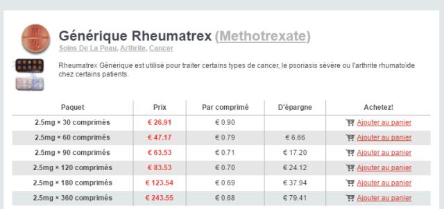 Rheumatrex Methotrexate generique