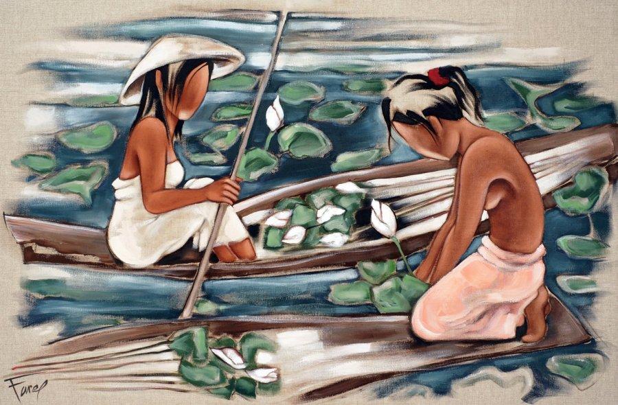 Tableau de Pierre Farel le lotus blanc