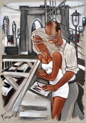 Tableau de Pierre Farel intitulé On Brooklyn bridges